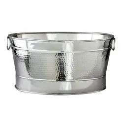 Stainless Steel Oval Hammered Beverage Party Tub
