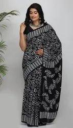 Bagru Hand Block Printed Black & White Cotton Sarees