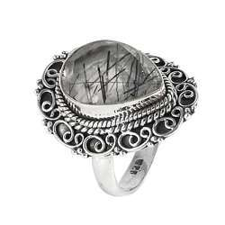 Abstract Black Rutile 925 Sterling Silver Ring