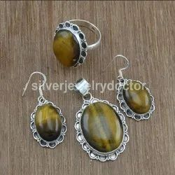 Tiger Eye Gemstone Designer Jewelry 925 Sterling Silver Set