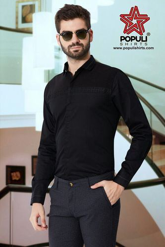 f9920eb5aee Cotton Black Mens Exclusive Party Wear Shirt