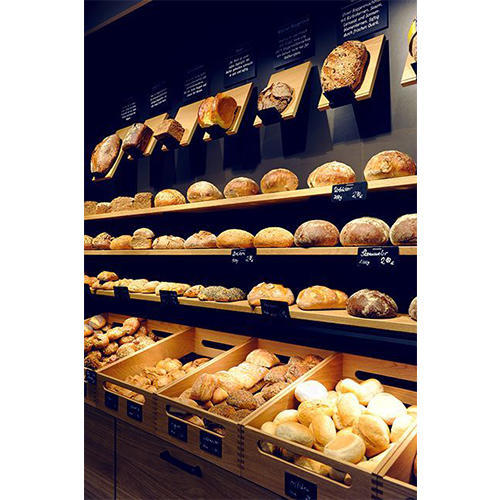 Wooden Wall Mounted Bread Display Rack, 6 Shelves, For ...
