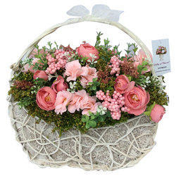 Valley of Flowers Polyester and Plastic Artificial Flowers Arrangement in Basket