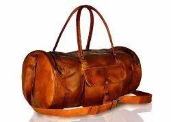 Vintage Leather Gym Workout Travel Weekend Bag For Men