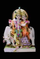 Radha Krishna Marble Statue and Cow