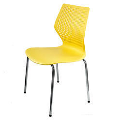 Yellow Plastic Seat and Steel Frame Chair, Size: 51 x 51 x 85.5 cm