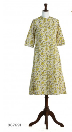 Neerus Off White And Yellow Colored Flex Fabric Tunic