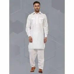 White Casual Men's Pathani Kurta Pajama