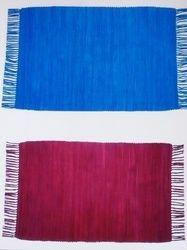 Hand Weave Plain Cotton Placemat With Fringes, Size: 35 X 50 cm