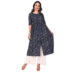 Blue Navy Color Cotton Printed A Line Kurta for Women and Girls