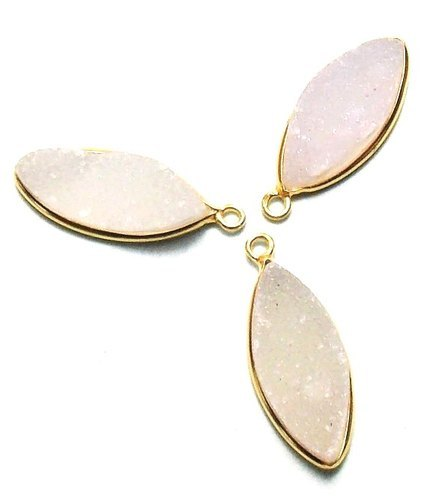675cd079d Sameer Art & Craft 925 Sterling Silver White Marquise Druzy Pendant ...