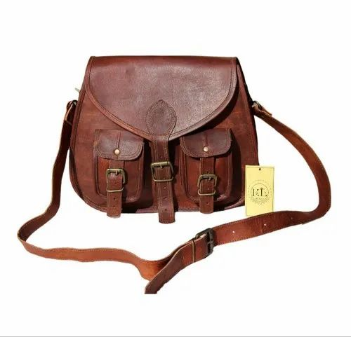 EL Solo Brown Stylish Handmade Pure Leather Handbag For Daily Use, Gender: Women