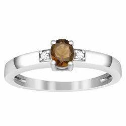 Capricorn Birthstone Smoky Quartz 0.25 Ctw 925 Sterling Silver Stacking Ring