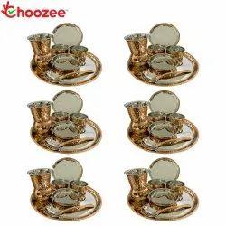 Choozee - Copper Thali Set of 6 (42 Pcs) Plate, Bowl, Spoon & Matka Glass