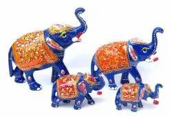 Swastik Overseas Painted Aluminium Metal Elephant Trunk Up Statues For Decoration