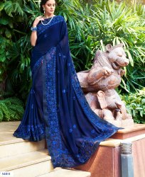 Exceptional Georgette Embroidered Party Wear Saree