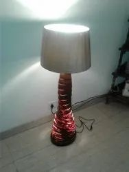 Wooden Twisted Tower Floor Lamp With Fabric Shade