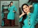 Black Jeck-Tc New Presenting Heavy Rayon With Embroidery Work Kurti With Palazzo And Dupatta Set