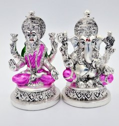 Silver Coated Laxmi Ganesh