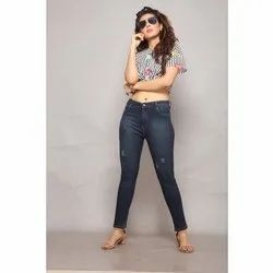 Ladies Stretchable Ripped Jeans, Waist Size: 28 - 40