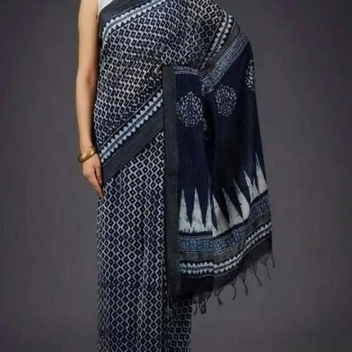Multicolor Cotton Hand Printed chanderiCasual Saree, 6.3 m (with blouse piece)
