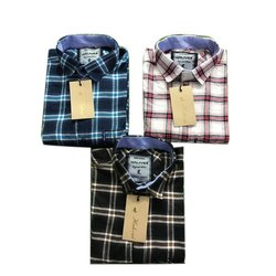 Casual Wear Cotton Mens Casual Check Shirts, Size: M-XL
