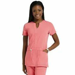 Pink Nurse Wear Female OT Scrubs, Size: Medium