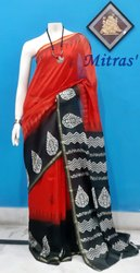 Party Wear Block Printed Chanderi Silk Saree, 6.5 m ( with Blouse Piece )