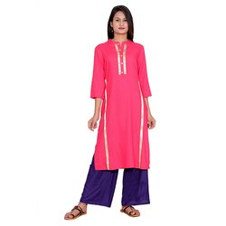 Pink And Blue Rayon Kurti