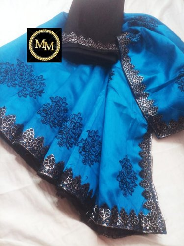 60f7463dc90 Vichitra Silk Saree With Elegant Fine Black Flower Embroidery All Over The  Body