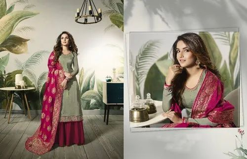 720b2ff970 Modal Satin Silk Plazo Style Suits Indian Designer Salwar Kameez, Rs ...
