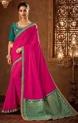 Designer Embroidery Work With  Fancy Saree