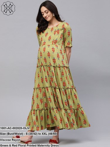 501b7a4f77fa3 Green & Red Floral Printed Maternity Dress at Rs 715 /piece ...