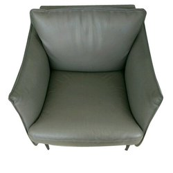 Grey Rexine Single Seater Sofa, Back Style: Cushion