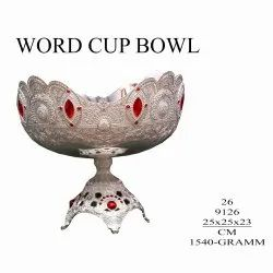 Silver Metal Round World Cup Bowl, For Home Hotel And Restaurant