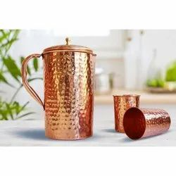 Osnica Hammered Copper Jug With Two Glass Set