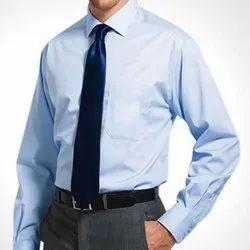 Down Collar Long Sleeve Mens Blue Cotton Formal Shirt, Machine wash, Size: S-xxl