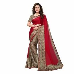 Red & Beige Colored Satin Printed Casual Saree