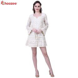 Chrysta Ladies Dress with Heavy Cotton Lace & Pom Pom