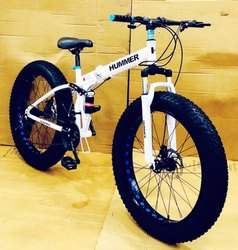 Hummer White Fat Tyre Foldable Cycle