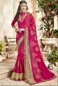 Banglori Silk Embroidery And Patch Border Rani Pink Embroidered Partywear Saree, With Stitched Blouse