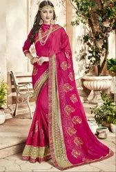 Rani Pink Embroidered Partywear Saree