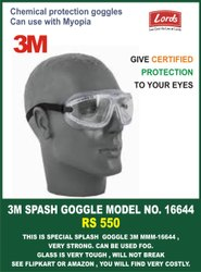 Goggle 3M Model No 16644 Splash Anti Fog Goggle