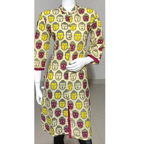 Casual wear XL 3/4th Sleeve Printed Cotton Kurti