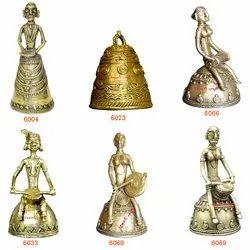 Religious Dhokra Art Craft Bronze Handmade Designer Home Decor Bells, 200 Grams, Size: 5 Inch