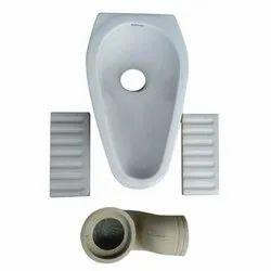 White Rural Pan Toilet Seat, Size/Dimension: 18 X 9 Inch