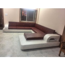 White and Brown Modern Modular Wooden Sofa Set, For Home and Hotel