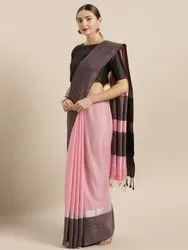 Pink & Black Linen Blend Solid Saree with Blouse piece