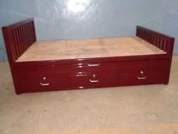 Mild Steel SSI King Size Cot With Storage