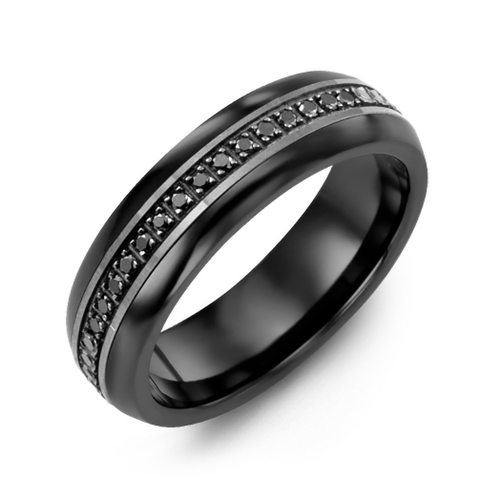Men S Women S Eternity Black Diamond Wedding Ring 14k Gold